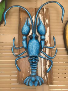 Blue crawfish, paper cache', crawfish, art, one of a kind,